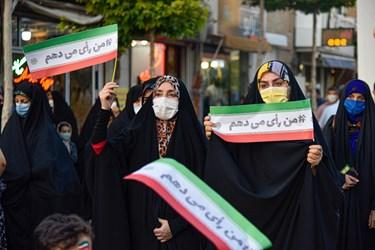 حضور بانوان در جشن خیابانی دهه کرامت  در پیاده راه سبزه میدان زنجان