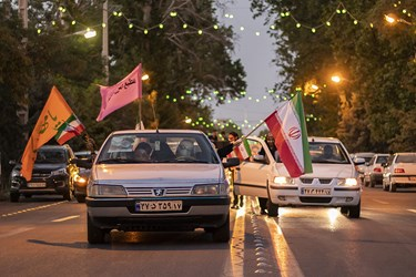 جشن خودرویی پیروزی هواداران آیتالله رئیسی در خیابان شهید سلیمانی ارومیه