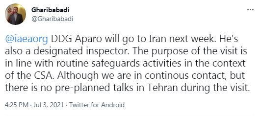 Aparo's visit to Tehran in line with safeguard activities