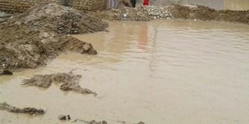 فیلم  جاری شدن سیلاب در خانمیرزا بهدنبال بارش باران