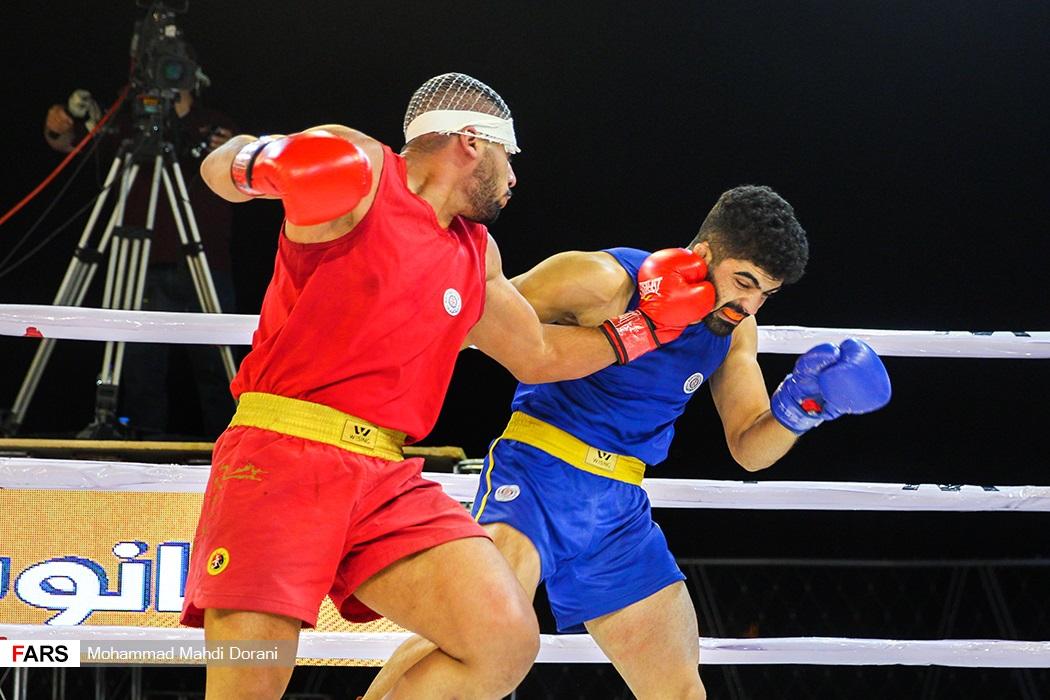 فینال مسابقات مبارزه جنگجویان ووشو (wwf) -وزن 80- کیلوگرم بین علی خورشیدی  و محمد گرشاسبی