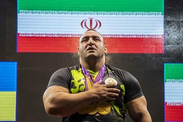 شهرام ساکی نفر اول در وزن مثبت120 کیلوگرم از تیم نیروی زمینی ایران