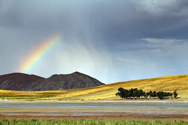 نمایی از تالاب قوریگول هنگام بارش باران تابستانی، که رنگین کمانی بر آسمان آن نقش بسته است.