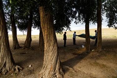 گردشگران در حال پهن کردن پتوی خود برای نشستن در بین درختان اطراف تالاب قوری گول هستند.