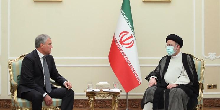 رئیسی در دیدار رئیس دومای روسیه: سند جامع همکاری میان ایران و روسیه برای گسترش همکاریها نهایی شود