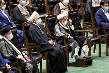 آیت الله احمد جنتی دبیر شورای نگهبان و غلامحسین محسنی اژهای رئیس قوه قضائیه در مراسم تحلیف رئیسجمهور