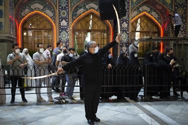 مراسم رژه شاه حسین گویان هیئت رایة الرضا (ع)  در امامزاده صالح (ع)