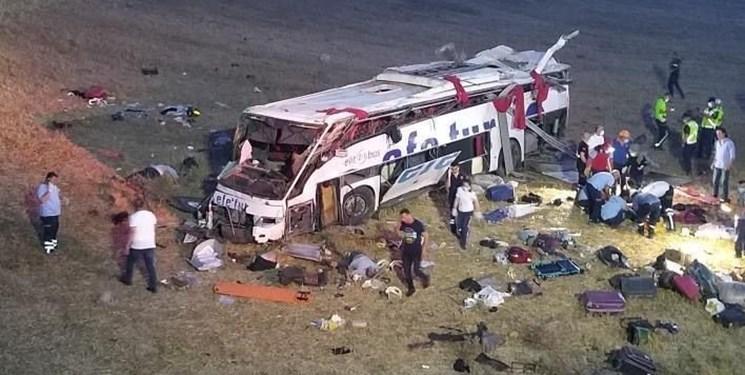 واژگونی مرگبار اتوبوس مسافربری در ترکیه؛ ۱۴ کشته، ۱۸ مجروح