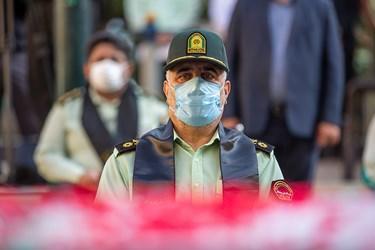 سردار حسین رحیمی فرمانده پلیس پایتخت در مراسم تشییع پیکر شهید ستوان سوم « یاسر طاهری»