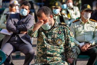 داوود نظام اسلامی جانباز دفاع مقدس در مراسم تشییع پیکر شهید ستوان سوم « یاسر طاهری»