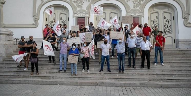 تظاهرات تونسیها در اعتراض به سفر هیأت آمریکایی