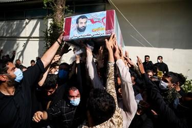 تشییع پیکر شهید مدافع حرم مرتضی کریمی در معراج شهدا تهران