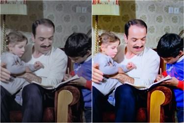 فریمی از یک فیلم، قبل و بعد از اصلاح رنگ و نور در فیلمخانه ملی ایران