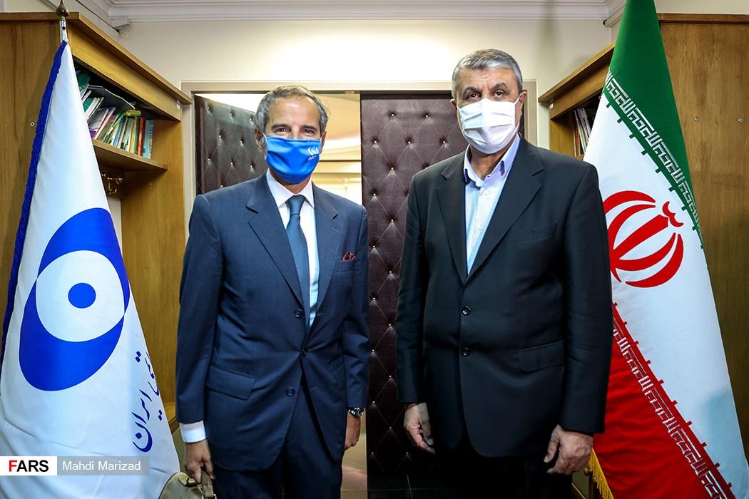 رافائل گروسی مدیرکل آژانس بینالمللی انرژی اتمی و محمد اسلامی رئیس سازمان انرژی اتمی