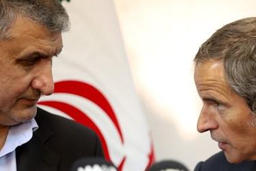 کنفرانس خبری مشترک رافائل گروسی مدیرکل آژانس بینالمللی انرژی اتمی و محمد اسلامی رئیس سازمان انرژی اتمی