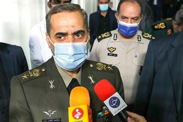 امیر سرتیپ محمدرضا آشتیانی وزیر دفاع در جمع خبرنگاران در مراسم آغاز فاز سوم کارآزمایی بالینی واکسن فخرا