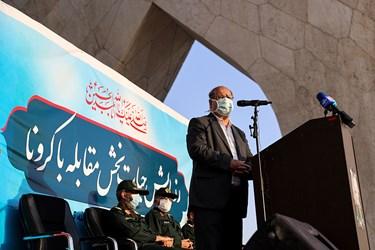 سخنرانی دکتر زالی رئیس ستاد ملی مبارزه با کرونا تهران در رزمایش بزرگ طرح شهید حاج قاسم سلیمانی