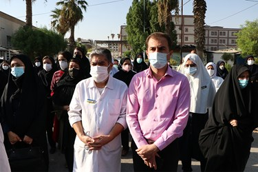 حضور همکاران شهید مدافع سلامت «صفدر امیری» در مراسم تشییع