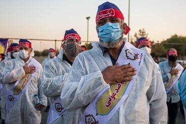 نیروهای بسیجی شرکت کننده در رزمایش حیات بخش مقابله با کرونا