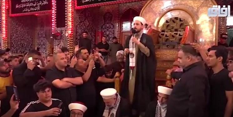 فریاد «مرگ بر اسرائیل» علمای مسجدالاقصی در حرم امام حسین(ع)+فیلم