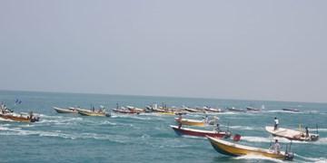 فیلم  رژه قایق های صیادی در زرآباد