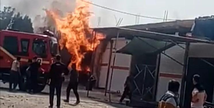 آتش سوزی در محل توزیع سیلندر گاز برازجان+فیلم
