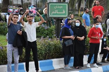 مراسم استقبال از محمدهادی ساروی قهرمان و مدال آور کشتی جهان از میدان قائم به سمت میدان 17 شهریور صورت گرفت
