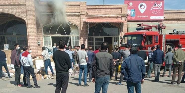 آتشسوزی در بازار خشکبار اردبیل/ مردم به داد مغازهدار رسیدند