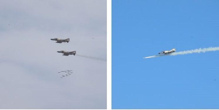 انهدام اهداف دشمن با بمب «یاسین 90» در رزمایش هوایی ارتش/ تمرین رهگیری هوایی در ارتفاع پست