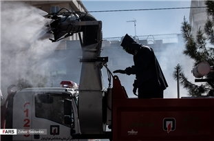 Tehran Firefighters Mobilized to Disinfect Capital with Mechanized Machine