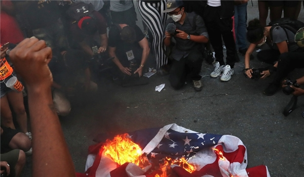 Protesters Burn American Flag Outside White House After Trump's July Fourth Address