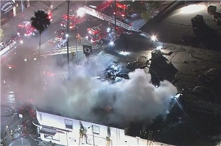 Fire Crews Battle Greater Alarm Blaze at Hollywood Commercial Structure