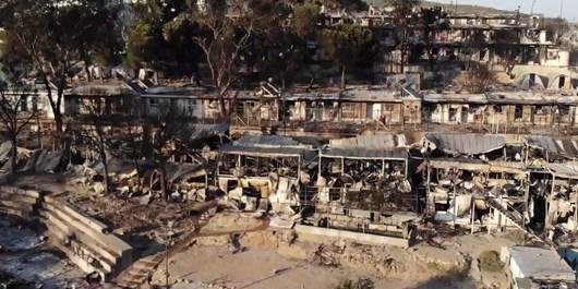 آتش سوزی کمپ یونان
